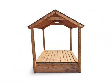 Smėlio dėžė su dvišlaičiu stogeliu 3