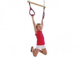 Medinė trapecija su plastikiniais trikampiais gimnastikos žiedais